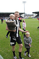 St Mirren's Harry Davis celebrates with family after winning the Scottish Professional Football League Ladbrokes Championship at the Paisley 2021 Stadium, Paisley on 14.4.18.