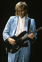 Alex Lifeson of Rush performs at The Rosemot Horizion in Rosemont, Illinois. <br /> March 21,1986<br /> CAP/MPI/GA<br /> &copy;GA//MPI/Capital Pictures