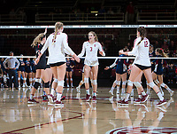 STANFORD, CA - December 1, 2018: Holly Campbell, Kathryn Plummer, Morgan Hentz, Audriana Fitzmorris at Maples Pavilion. The Stanford Cardinal defeated Loyola Marymount 25-20, 25-15, 25-17 in the second round of the NCAA tournament.