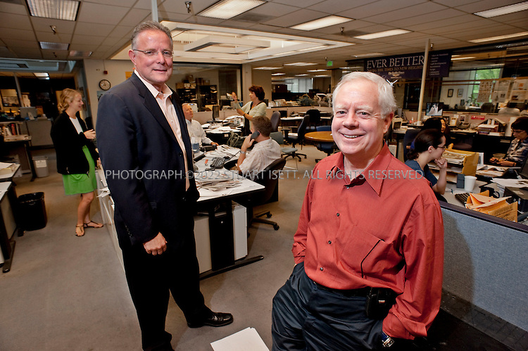"""8/5/2009--Seattle, WA, USA..Frank Blethen (right), the CEO of the Seattle Times company and publisher of the newspaper, and Dave Boardman, the executive editor...The Seattle Times is the largest daily newspaper in the state of Washington and from 1983 to 2009, the Times and Seattle's other major paper, the Hearst-owned Seattle Post-Intelligencer, were run under a """"Joint Operating Agreement"""". This arrangement ended on March 17, 2009, when the Seattle Post-Intelligencer ceased publication, leaving The Seattle Times as Seattle's only major daily newspaper...©2009 Stuart Isett. All rights reserved."""