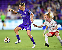 Orlando, FL - Saturday July 07, 2018: Emily van Egmond, Tori Huster during the first half of a regular season National Women's Soccer League (NWSL) match between the Orlando Pride and the Washington Spirit at Orlando City Stadium.