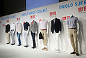 """May 31st, 2011, Tokyo, Japan - Outfits are displayed during the UNIQLO's news conference in Tokyo on Tuesday, May 31, 2011. A casual clothing chain, run by Fast Retailing Co., held the event to propose a comfortable fashion ahead of the """"Super Cool Biz,"""" summertime energy-conserving campaign. From June, The Ministry of the Environment kick off the campaign to allow workers to dress extremely casually this summer, such as in aloha shirts and jeans, in an effort to save electricity amid concerns over power shortages due to the crippled Fukushima nuclear power plant and the planned suspension of the Hamaoka nuclear plant. (Photo by YUTAKA/AFLO) [1040] -ty-"""