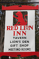 Sign outside of the Red Lion Inn in Stockbridge, Massachusetts