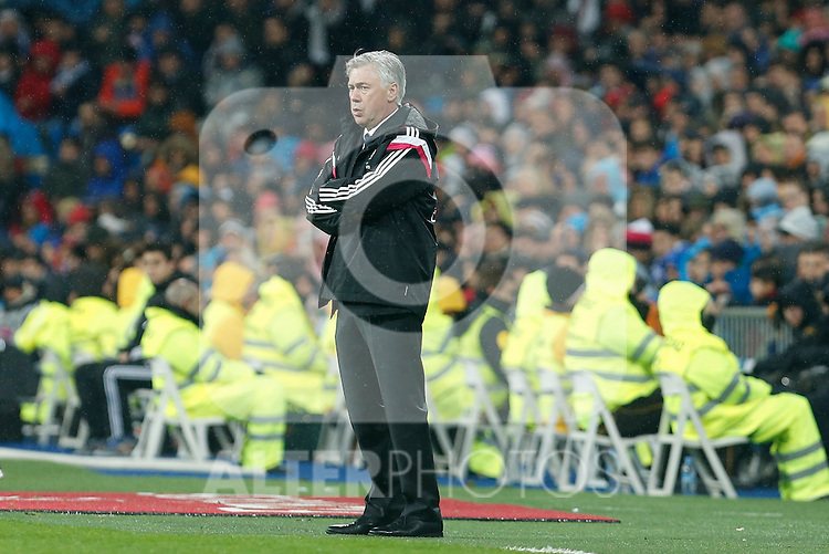 Real Madrid´s coach Carlo Ancelotti during Spanish King´s Cup match at Santiago Bernabeu stadium in Madrid, Spain. January 15, 2015. (ALTERPHOTOS/Victor Blanco)
