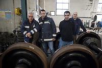 Roma 24 Febbraio 2012.I lavoratori della Rsi Italia SpA (Rail Service Italia, ex Wagons Lits), in Cassa Integrazione straordinaria da 6 mesi hanno occupato la fabbrica di via Umberto Partini a Roma. Sono 59 operai (33 metalmeccanici, 26 dei trasporti), addetti alla manutenzione dei Treni Notte..Workers at the Rsi Italy SpA (Italy Rail Service, former Wagons Lits), extraordinary layoff from 6 months have occupied the factory in via Umberto Partini in Rome. We are 59 workers (33 metalworkers, 26 transport), Night Train maintenance workers. Rome, Italy 24th of February 2012