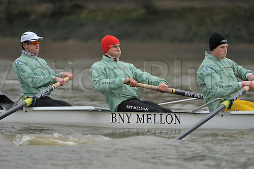 26.03.2013. River Thames, London. Alexander Leichter [2] Cambridge Goldie in action during The 159th Oxford and Cambridge Universities Boat Race practice outing during Tideway week.