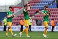 The Preston North End players applauds the fans at the final whistle <br /> <br /> Photographer David Shipman/CameraSport<br /> <br /> The EFL Sky Bet Championship - Wigan Athletic v Preston North End - Monday 22nd April 2019 - DW Stadium - Wigan<br /> <br /> World Copyright © 2019 CameraSport. All rights reserved. 43 Linden Ave. Countesthorpe. Leicester. England. LE8 5PG - Tel: +44 (0) 116 277 4147 - admin@camerasport.com - www.camerasport.com
