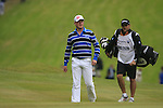 Jamie Donaldson (WAL) walks onto the 1st green during the Final Day of the BMW PGA Championship Championship at, Wentworth Club, Surrey, England, 29th May 2011. (Photo Eoin Clarke/Golffile 2011)