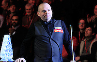 Stuart Bingham enters the arena before the Dafabet Masters Q/F 4 match between John Higgins and Stuart Bingham at Alexandra Palace, London, England on 15 January 2016. Photo by Liam Smith / PRiME Media Images