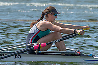 "Henley on Thames, United Kingdom, 24th June 2018, Sunday, ""Henley Women's Regatta"", view, ""Championship Women's Single Sculler"", Cara Grzeskowiak, Capital Lakes, AUS, Henley Reach, River Thames, Thames valley,  England, © Peter SPURRIER 24/06/2018"