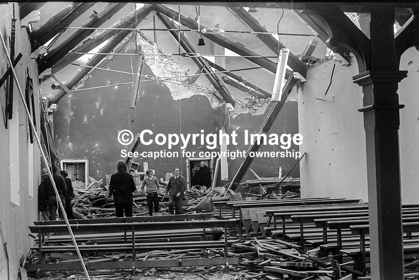 Badly damaged Interior and roof of Roman Catholic Church in Martinstown, Co Antrim, N Ireland following loyalist bomb attack on 8th December 1972. No one was injured. 197212080765<br />