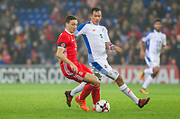 James Chester of Wales shields the ball from Blas Perez of Panama during the International Friendly match between Wales and Panama at the Cardiff City Stadium, Cardiff, Wales on 14 November 2017. Photo by Mark Hawkins.