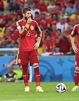 FUSSBALL WM 2014  VORRUNDE    Gruppe B     Spanien - Chile                           18.06.2014 Sergio Ramos (Spanien) ist enttaeuscht
