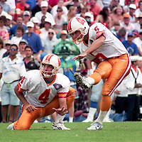 Kicker Michael Husted (5) kicks a field goal, Detroit Lions at Tampa Bay Buccaneers NFL football game won by Tampa Bay 24-14 at Tampa Stadium, in Tampa , Florida on Sunday October 2, 1994 . (Photo by Brian Cleary/bcpix.com)