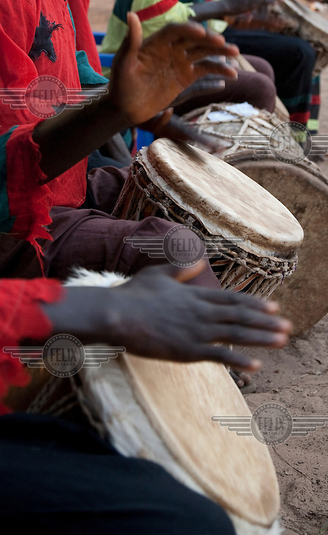 Musicians play drums on the island of Bubaque.