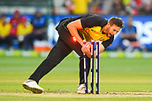 10th February 2018, Melbourne Cricket Ground, Melbourne, Australia; International Twenty20 Cricket, Australia versus England; Andrew Tye of Australia attempts a run out opportunity
