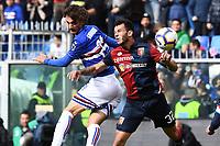 Manolo Gabbiadini of Sampdoria , Pedro Pereira of Genoa <br /> Genova 14-04-2019 Stadio Luigi Ferraris Football Calcio Serie A 2018/2019 Sampdoria - Genoa <br /> Foto Matteo Gribaudi / Image Sport / Insidefoto