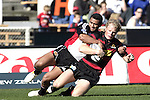 Lelia Masaga takes Scott Hamilton to ground during the Ranfurly Shield challenge against Canterbury at Jade Stadium on the 10th of September 2006. Canterbury won 32 - 16.