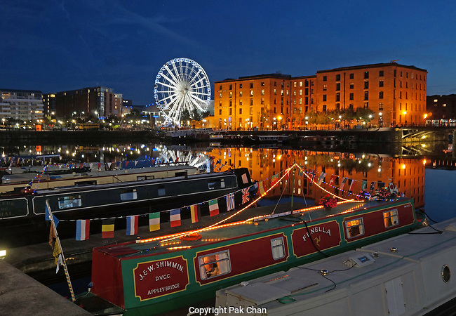 Narrowboats at Salthouse Dock(Part of the Albert Dock),Liverpool.