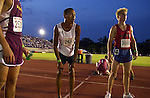 Flagler Palm Coast runner Sammy Vazquez stares toward the scoreboard in anticipation, hoping to see that he has set a national record in the 800m event during the FHSAA state track and field finals, Friday, May 16, 2003, in Gainsville.  Vazquez later found out that he had missed the national record by a spit second, placing him third nationally in the event.(Brian Myrick)