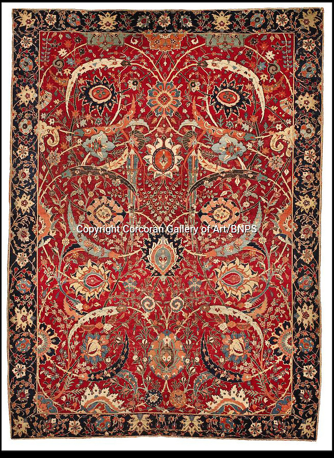BNPS.co.uk (01202) 558833<br /> Picture: CorcoranGallery/BNPS<br /> <br /> **please byline**<br /> <br /> An ancient Persian rug has floored the art world after selling for a whopping £21.8million - more than three times the world carpet record. The exquisite handwoven carpet is over 360 years old and measures 8ft 9ins by 6ft 5ins and was tipped to fetch five million at the New York auction, but stunned experts when the hammer fell at more than four times the estimate. The equivalent money would buy a luxury six-bed pad in Regent's Park, London, or a plush 17-acre estate in The Hamptons, New York, plus a similar sized Ikea oriental rug for £975. Four bidders fought for more than 10 minutes to get their hands on the antique rug, which was sold by Corcoran Gallery of Art. The winning bid was placed by a private telephone bidder at the Sotheby's auction in New York.