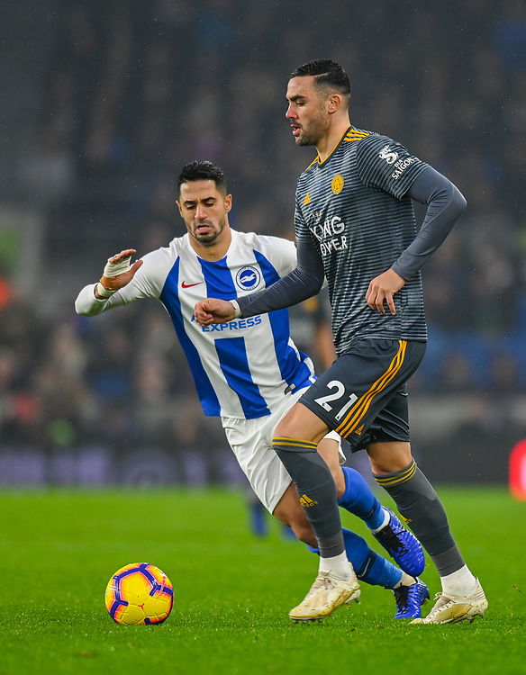 Leicester City's Vicente Iborra (right) under pressure from  Brighton & Hove Albion's Beram Kayal (left) <br /> <br /> Photographer David Horton/CameraSport<br /> <br /> The Premier League - Brighton and Hove Albion v Leicester City - Saturday 24th November 2018 - The Amex Stadium - Brighton<br /> <br /> World Copyright © 2018 CameraSport. All rights reserved. 43 Linden Ave. Countesthorpe. Leicester. England. LE8 5PG - Tel: +44 (0) 116 277 4147 - admin@camerasport.com - www.camerasport.com