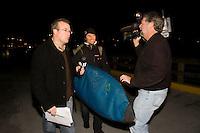 "Grant ""Twiggy"" Baker arrives at the 2008 Mavericks Surf Contest in Half Moon Bay, Calif., Saturday, January 12, 2008."