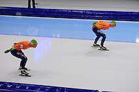 SCHAATSEN: HEERENVEEN: IJsstadion Thialf, 13-01-2013, Seizoen 2012-2013, Essent ISU EK allround, 5000m Ladies, Diane Valkenburg (NED), Antoinette de Jong (NED), ©foto Martin de Jong