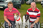 SEMI-FINALS: Ger McMahon (Ballybunion) with his dog (Fortfield Flower) and Edward O'Sullivan (Listowel) heading to the Kilflynn Coursing for the Semi-Finals at Kilflynn Coursing on Sunday.