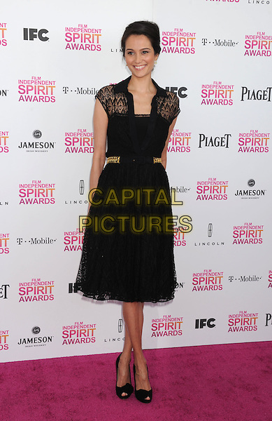 Emma Heming.2013 Film Independent Spirit Awards - Arrivals Held At Santa Monica Beach, Santa Monica, California, USA,.23rd February 2013..indy indie indies indys full length black lace dress gold belt peep toe shoes .CAP/ROT/TM.©Tony Michaels/Roth Stock/Capital Pictures