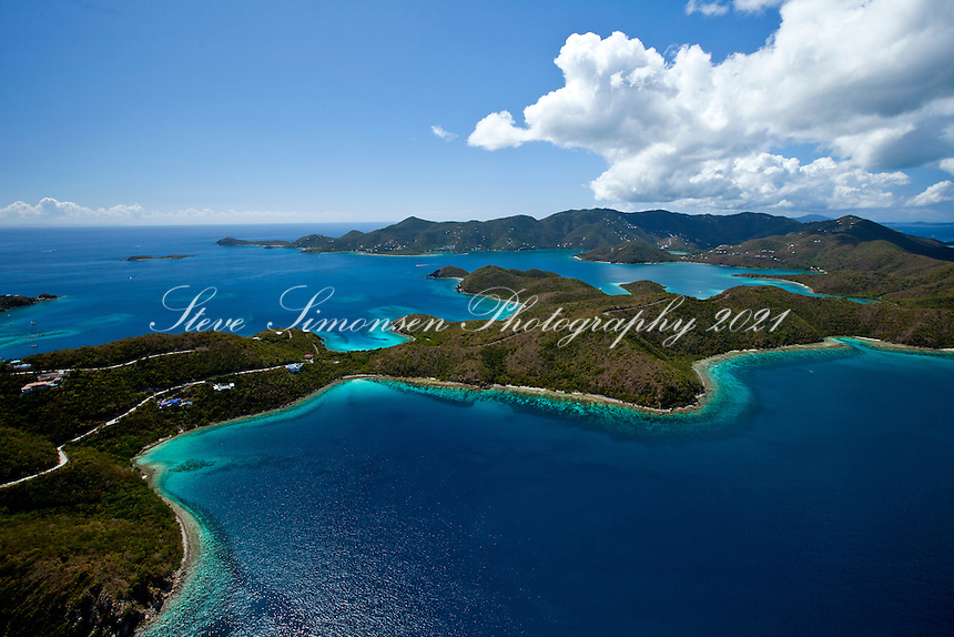Aerial view of St. John east end looking west showing hurricane hole and Haulover Bay.U.S. Virgin Islands