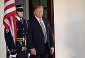 United States President Donald J. Trump prepares to welcome Prime Minister of Ireland Leo Varadkar to the White House. Credit: Erin Scott / CNP