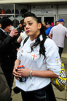 English Defence League (EDL) demonstration<br /> called in protest to the proposed building of a new mosque in Dudley.<br /> A young female supporter of the English Defence League.