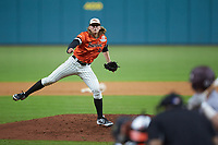 Sam Houston State Bearkats relief pitcher Nick Mikolajchak (21) in action against the Mississippi State Bulldogs during game eight of the 2018 Shriners Hospitals for Children College Classic at Minute Maid Park on March 3, 2018 in Houston, Texas. The Bulldogs defeated the Bearkats 4-1.  (Brian Westerholt/Four Seam Images)