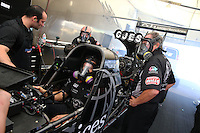 Apr 12, 2015; Las Vegas, NV, USA; Crew members for NHRA top fuel driver Dave Connolly during the Summitracing.com Nationals at The Strip at Las Vegas Motor Speedway. Mandatory Credit: Mark J. Rebilas-