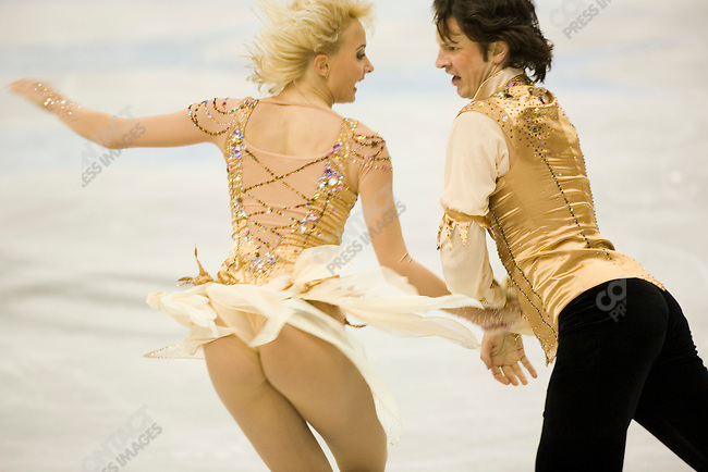 Ice dancing-free dance at the Palavela venue in Torino during the winter Olympics. Oksana Domnina and Maxim Shabalin of RUS.
