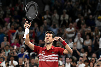 12th January 2020; Sydney Olympic Park Tennis Centre, Sydney, New South Wales, Australia; ATP Cup Australia, Sydney, Day 10; Serbia versus Spain; Novak Djokovic of Serbia versus Rafael Nadal of Spain; Novak Djokovic of Serbia acknowledges the crowds support after defeating Rafael Nadal of Spain - Editorial Use