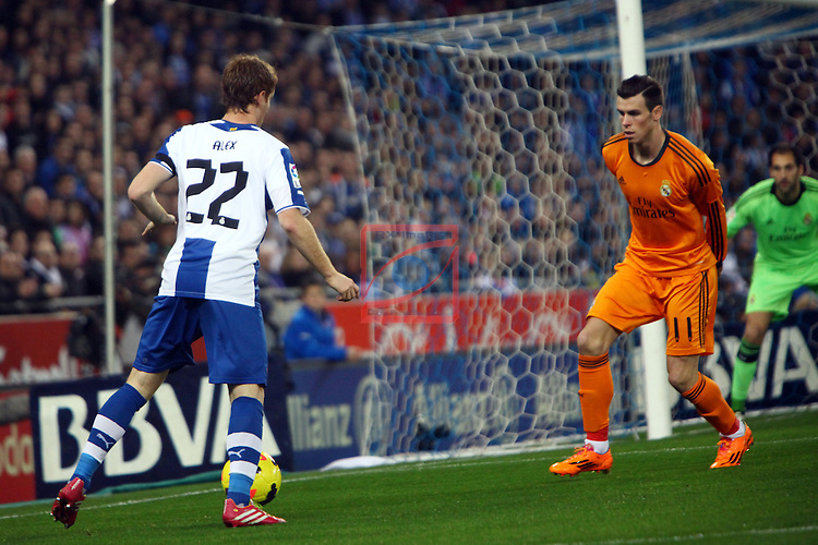 League BBVA 2013/2014 - Game: 19.<br /> RCD Espanyol vs R. Madrid: 0-1.<br /> Alex vs Bale.