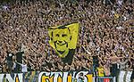 Solna 2015-08-10 Fotboll Allsvenskan AIK - Djurg&aring;rdens IF :  <br /> AIK:s supportrar med en flagga f&ouml;rest&auml;llande Ivan Turina under matchen mellan AIK och Djurg&aring;rdens IF <br /> (Foto: Kenta J&ouml;nsson) Nyckelord:  AIK Gnaget Friends Arena Allsvenskan Djurg&aring;rden DIF supporter fans publik supporters