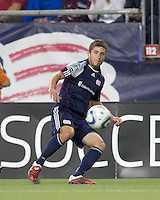 New England Revolution midfielder Chris Tierney (8) passes the ball. In a Major League Soccer (MLS) match, the New England Revolution defeated FC Dallas, 2-0, at Gillette Stadium on September 10, 2011.