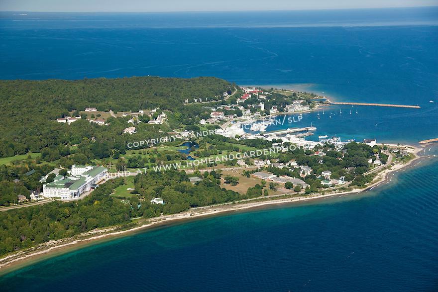 The Grand Hotel, the Village and harbor, Mackinac Island, Michigan