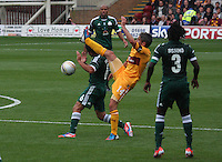 Keith Lasley fouls Vitolo with the high boot in the Motherwell v Panathinaikos UEFA Champions League 3rd Qualifying Round 1st Leg match at Fir Park, Motherwell on 31.7.12.
