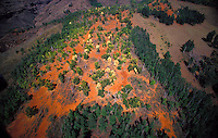 Eroded mountain slopes of West Kauai, aerial photo.