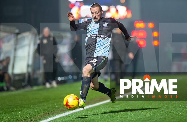 Michael Harriman of Wycombe Wanderers in action during the Sky Bet League 2 match between Wycombe Wanderers and Notts County at Adams Park, High Wycombe, England on 15 December 2015. Photo by Andy Rowland.