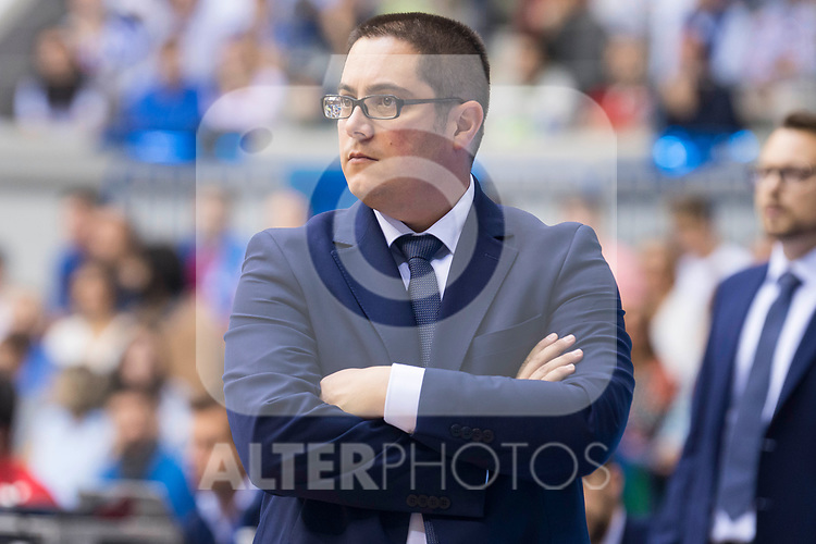 San Pablo Burgos's coach Diego Epifanio during Liga Endesa match between San Pablo Burgos and Iberostar Tenerife at Coliseum Burgos in Burgos, Spain October 01, 2017. (ALTERPHOTOS/Borja B.Hojas)