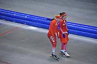 SCHAATSEN: HEERENVEEN: IJsstadion Thialf, 03-06-2013, training merkenteams op zomerijs, Marianne Timmer (trainer), Mayon Kuipers, ©foto Martin de Jong
