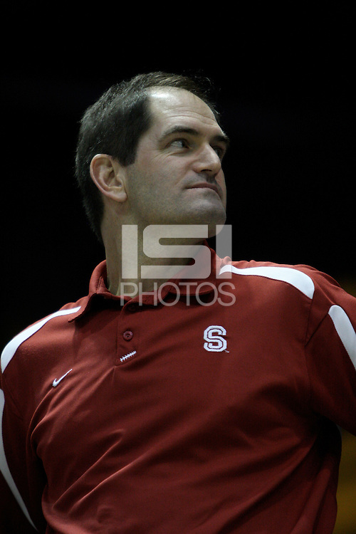 BERKELEY, CA - MARCH 30: Sr. Administrator Earl Koberlein cheers the team on during Stanford's 74-53 win against the Iowa State Cyclones on March 30, 2009 at Haas Pavilion in Berkeley, California.