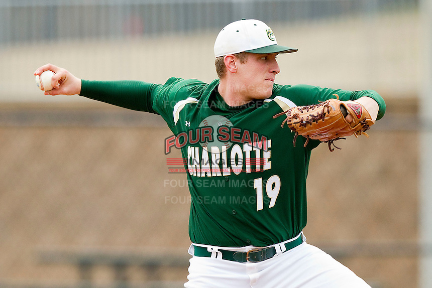 Starting pitcher Corey Roberts #19 of the Charlotte 49ers in action against the Saint Peter's Peacocks at Robert and Mariam Hayes Stadium on February 18, 2012 in Charlotte, North Carolina.  Brian Westerholt / Four Seam Images