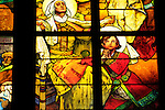 Stain glass windows by Alphonse Mucha in St Vitus Cathedral in Prague Castle in Prague, Czech Republic.
