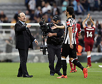Newcastle United manager Rafa Benitez congratulates  Mikel Merino at the final whistle <br /> <br /> Photographer Rich Linley/CameraSport<br /> <br /> The Premier League -  Newcastle United v Liverpool - Sunday 1st October 2017 - St James' Park - Newcastle<br /> <br /> World Copyright &copy; 2017 CameraSport. All rights reserved. 43 Linden Ave. Countesthorpe. Leicester. England. LE8 5PG - Tel: +44 (0) 116 277 4147 - admin@camerasport.com - www.camerasport.com